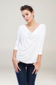 Graceful with Soft Falling layers, casual easy top, comfy with a light stretch.