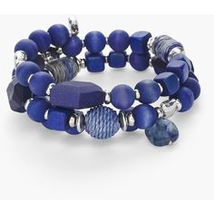 Chico's Women's Blue Wood Bead Coil Bracelet ($36) ❤ liked on Polyvore featuring jewelry, bracelets, smokey blue, blue bangles, chicos jewelry, wooden bead jewelry, blue jewellery and wooden beads jewellery