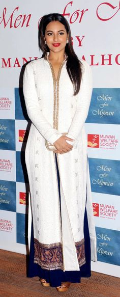 Sonakshi Sinha looked gorgeous in a white suit with blue accents at the Mijwan Fashion Show.