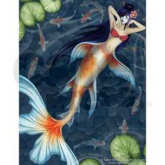 koi fish mermaid - Google Search