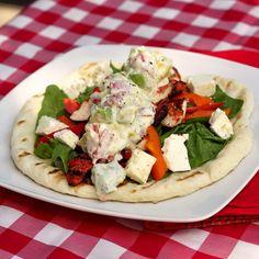 Chicken Souvlaki Wraps with Tomato Avocado Tzatziki