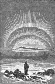 An illustration from Jules Verne's novel 'Journeys and Adventures of Captain Hatteras', part I: 'The English at the Noth Pole' drawn by Édouard Riou and/or Henri de Montaut. Polski: Ilustracja powieści Juliusza Verne'a 'Podróże i przygody kapi Jules Verne, Dark Fantasy, Fantasy Art, Northern Lights Tattoo, Romantic Writers, Arcology, Winter Light, Midnight Sun, Black And White Illustration