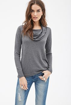 Cowl Neck Tunic Sweater   FOREVER21 - 2000120760 Grey and Blue