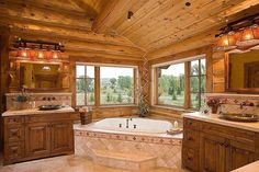 Cabin ~ Bathroom speechless and breathtaking master bathroom with view.