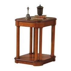 Mesa de rincón clásica con tapa de cristal, color: cerezo