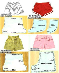 Diy Clothing, Sewing Clothes, Clothing Patterns, Fashion Sewing, Diy Fashion, Como Fazer Short, Kids Summer Dresses, Kids Dress Wear, Girl Dress Patterns