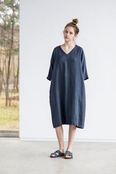 Charcoal linen tunic/dress. Washed linen kimono tunic. Oversize linen dress. V neckline linen dress