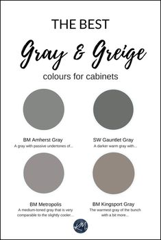 The 4 Best Gray and Greige Colours for Cabinets and Vanities (Medium-toned) Grey Bathroom Cabinets, Dark Grey Kitchen Cabinets, Dark Gray Bathroom, Painting Bathroom Cabinets, Bathroom Vanities, Bathroom Ideas, Chic Bathrooms, Oak Cabinets, Basement Bathroom