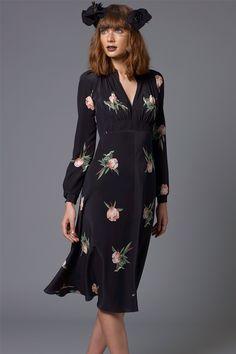 grandad silk midi dress Portrait Rose model shot (click to view larger image)