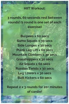 New HIIT Workout - No Gym Needed! Try the No Gym Needed 30-Day Challenge as well for more awesome at-home workouts —
