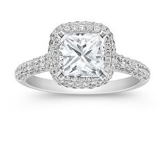 Halo Diamond Engagement Ring with Pave Setting with Princess Cut Diamond. Yep this is what I want!