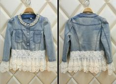 Women Pearl Denim Jacket Coat Lace Splicing Jeans Jacket Denim Party Outwear Gw