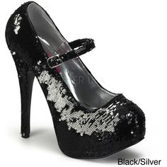 Bordello Women's 'Teeze-06R' Sequin Hidden Platform Pumps (3.885 RUB) ❤ liked on Polyvore featuring shoes, pumps, black, black platform pumps, sexy platform pumps, high heel pumps, black sequin shoes and high heeled footwear
