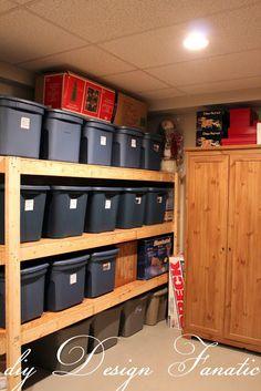 storage shelves, diy storage shelves, basement storage, garage storage- great way to store holiday decorations Diy Storage Shelves, Diy Garage Storage, Attic Storage, Laundry Room Organization, Storage Ideas, Clothes Storage, Storage Room, Garage Shelving, Tote Storage
