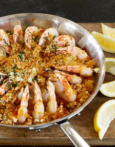 roasted shrimp with feta and breadcrumbs--dinner tonight, thanks to a freezer malfunction that requires us to use up some formerly frozen shrimp