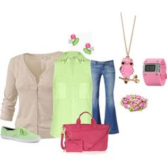 Pink and Green Outfit by hread on Polyvore