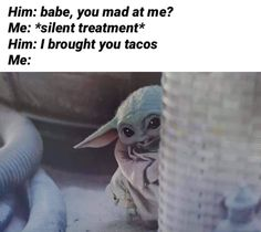 Funny Animal Memes, Funny Relatable Memes, Funny Texts, Funny Animals, Funny Quotes, Yoda Meme, Yoda Funny, Lets Taco Bout It, Dont Touch My Phone Wallpapers