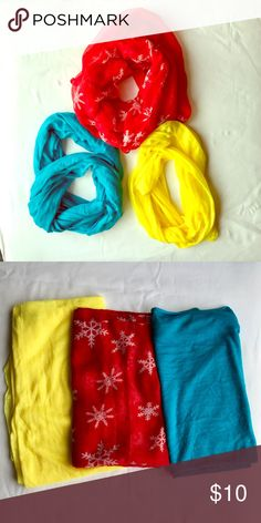 Infinity Scarf Bundle❤️Bright & Cheerful Turquoise, bright yellow and red with snowflakes. All thin tissue material so can be worn as an outfit accessory as well as for warmth. Pop one over a tee for a quick style upgrade. Accessories Scarves & Wraps