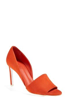 orange peep-toe d'orsay pumps (also in black, grey and nude)