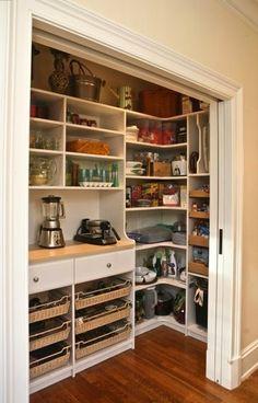 Pocket door pantry -- no swinging doors -- LOVE this idea!