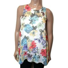 Tropical Floral Sleeveless Blouse Womens Size Medium ? White Flowy Made In Italy #Unknown #Tunic #PartyCocktail Sleeveless Blouse, Blouses For Women, Tropical, Tunic, Italy, Medium, Floral, How To Make, Shirts