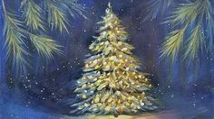 1:04:00 Snowy Christmas Tree Glowing at Night Acrylic Painting Tutorial LIVE