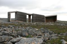 Norwegian practice Pushak architects have designed the Reinoksevatn Rest Stop, a wooden structure that serves as an open-air rest area. Wood Architecture, Open Fireplace, Small Buildings, Brickwork, Urban Landscape, House Design, House Styles, Places, Outdoor Decor