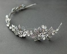 ivory pearl headband//Alice band Silver clear//black crystal diamante rhinestone