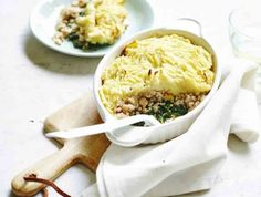 Gratin van aardappel, spinazie en gehakt