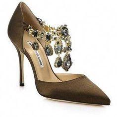 4f9ca6823 Manolo Blahnik Zullin Satin Jeweled D Orsay Pumps  ManoloBlahnik Satin Shoes