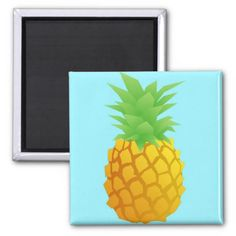 Pineapple Pattern on Blue Magnet