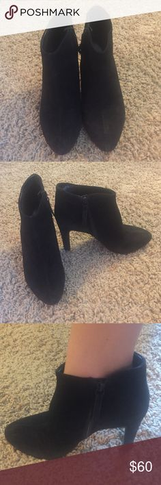 Black suede ankle boots Nine West Black Suede booties. Size 7.5. Lightly worn. Recently cleaned using a suede shoe cleaner. Nine West Shoes Ankle Boots & Booties
