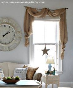 Interior Design ~ Living (branch curtain rod & burlap)