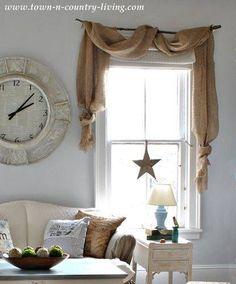 Interior Design ~ Living (branch curtain rod & burlap)