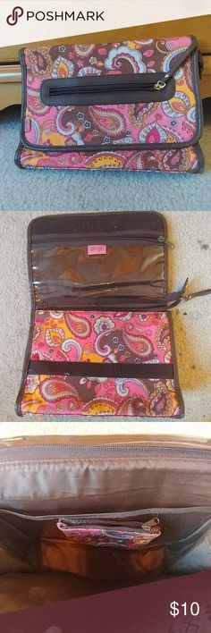 Maggi B Make Up Bag Maggi B small make up bag with removable change purse inside. Paisley print done and pink, brown, orange, and tan. There is a small zippered pocket on the front and velcro closure. Inside there is one separated section and a small zippered section, along with a removable change purse that is velcroed inside. Maggi B Bags