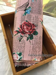 Shabby Chic Rose Linen Cotton Fabric Light Grey Pink by fabricmade