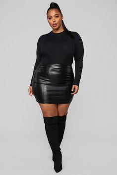 Love Like This Bodysuit - Black – Fashion Nova Thick Girl Fashion, Plus Size Fashion For Women, Curvy Women Fashion, Womens Fashion, Curvy Girl Outfits, Plus Size Outfits, Botas Sexy, Looks Plus Size, Black Leather Skirts