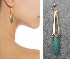 Pas cher 2016 mode luxe marque Rivet pierre naturelle Turquoise boucles d'oreilles en or pour les femmes Charm bijoux gros, Acheter  Pendants d'oreilles de qualité directement des fournisseurs de Chine:                      Bienvenue à mon magasin, nous sommes usine directe des ventes.                                                                                                                                                     Plus