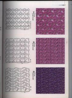 Diagrammen om een rechte sjaal mee te haken