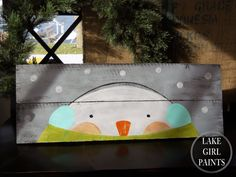 Lake Girl Paints: Snowman on Shutter Gray Fence Board