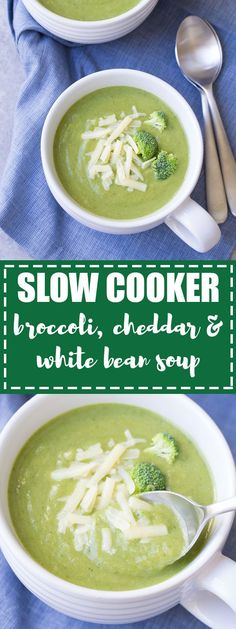 Creamy Slow Cooker Broccoli, Cheddar and White Bean Soup! This healthy vegetarian broccoli cheese soup is fast and easy to make in your crock pot! #ad #slowcooker #crockpot #vegetarian #broccolisoup #halfcuphabit #justaddpulses @USAPulses @PulseCanada