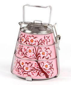 Rose Vintage Tiffin lunch box and picnic basket for summer by Karma Living #zulily #zulilyfinds