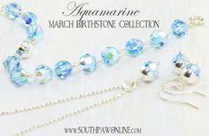 Aquamarine, March Birthstone Jewelry || http://southpawonline.com/collections/seasonal