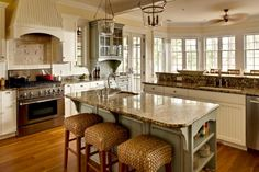 JAMISON: CAROLINA KITCHENS - BEADBOARD DOVER WHITE CABINETRY WITH DISTRESSED BLUE ISLAND AND ...