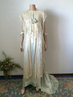 Iced Aqua Silk and Tambour Lace Tea Gown with Ribbon Work Roses...Slightly Damaged Edwardian Trained Wrapper by TheButlersCottage on Etsy https://www.etsy.com/listing/237555058/iced-aqua-silk-and-tambour-lace-tea-gown