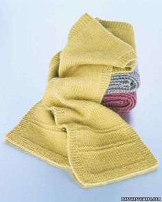 The main body of this scarf is worked in stockinette stitch, the most common of all stitch patterns, which is formed by alternating knit rows and purl rows.