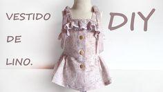 Vestido sencillo de lino niña. Costura y moda.