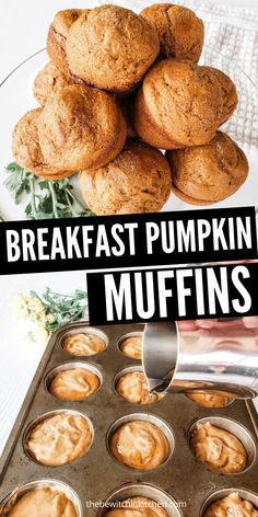 Breakfast Pumpkin Spice Muffins are a great way jumpstart the day. Pumpkin spice flavor in every bite, that you don't have to feel guilty about nibbling on. I use Greek yogurt to give these muffins the perfect texture. #healthy #pumpkin #breakfast #pumpkinspice #muffins #easy #best Healthy Muffin Recipes, Delicious Breakfast Recipes, Best Dessert Recipes, Brunch Recipes, Snack Recipes, Brunch Ideas, Kitchen Recipes, Bread Recipes, Healthy Snacks