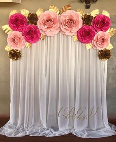 Baby Shower Pink and Gold Backdrop with Large Medium and Small Roses In Colors Hot Gold Backdrop, Paper Flower Backdrop, Paper Flowers Diy, Paper Flower Wall, Baby Shower Backdrop, Baby Shower Themes, Baby Shower Decorations, Baby Shower Background, Pink And Gold Birthday Party