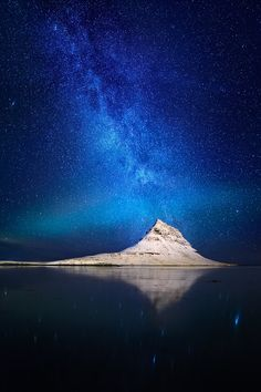 Stars and Milky Way beautifully positioned above Pyramid Mountain and a hint of Aurora in Iceland